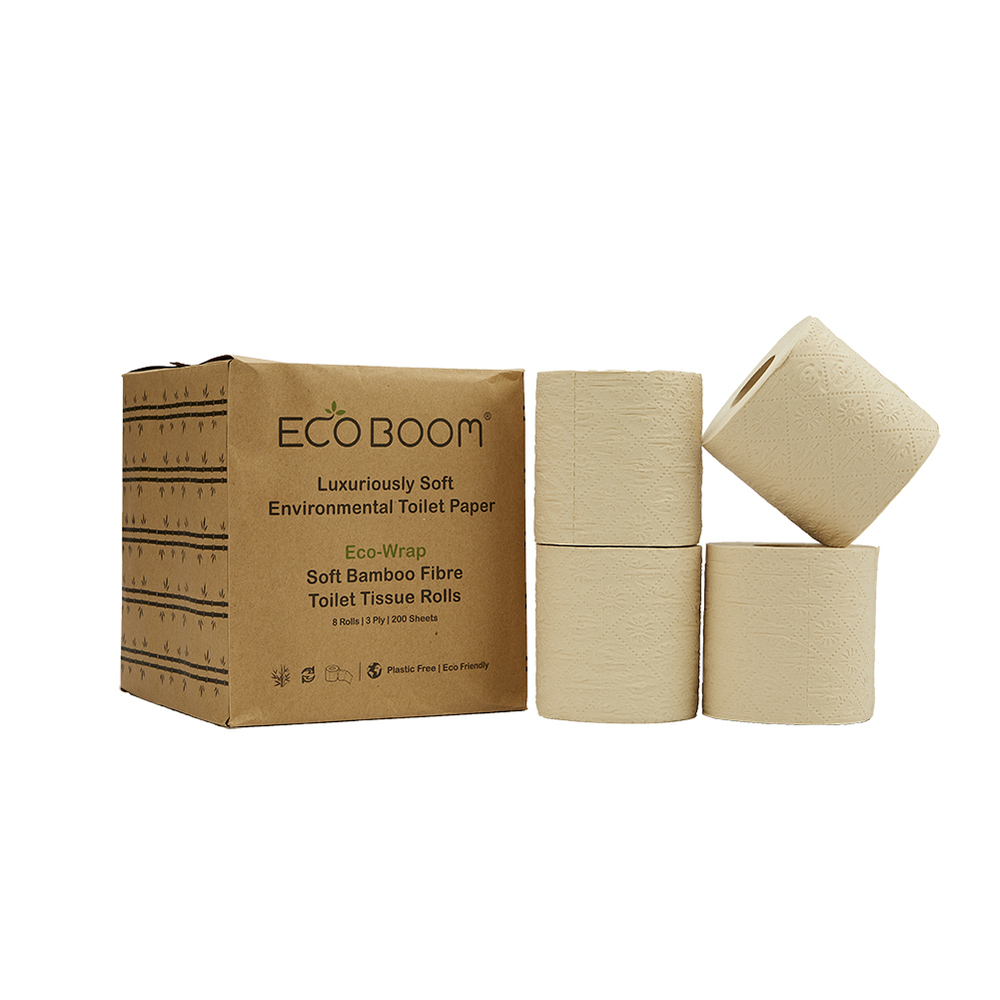 24 Rolls of 100% Bamboo Toilet Paper in 0% Plastic Packaging