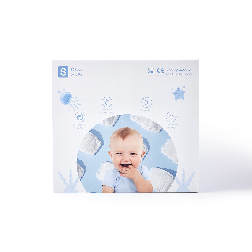 ECO BOOM Boxed Plant-based Diaper Size S